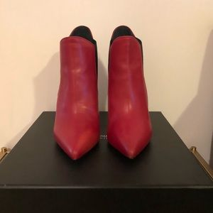 Saint Laurent Shoes - Saint Laurent Stiletto Ankle Booties Rouge 36.5